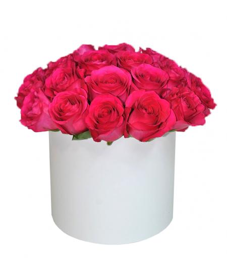 Белая коробка из 25 розовые розы ПРЕМИУМ