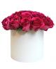 Cutie albă din 25 trandafiri roz PREMIUM
