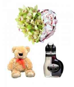 Heart of Orchids and Raffaello + Liqueur ''Sheridan's'' + Bear 52cm ↑