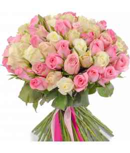 Mixed bouquet of 51 roses 40-50cm