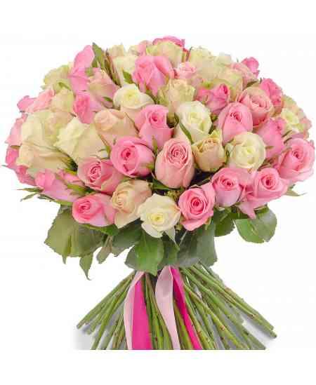 Смешанный букет из роз 40-50см