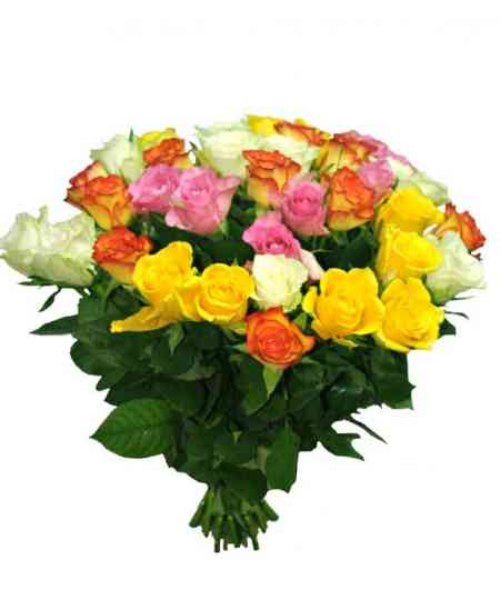 Букет из 35 разноцветных роз 30-40см