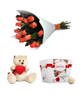 Buchet din 15 trandafiri + Raffaello + Ursuleț 20cm ↑