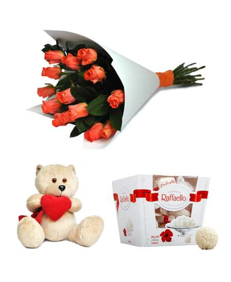 Bouquet of 15 roses + Raffaello + Bear 20cm ↑
