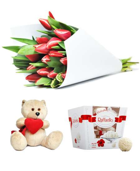 Bouquet of 15 red tulips + Raffaello + Bear 20cm ↑