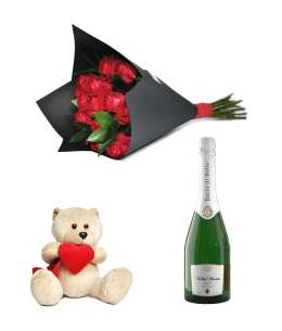 "Bouquet of 11 red roses + Champagne ""Bacio di Bolle"" + Bear 20cm ↑"