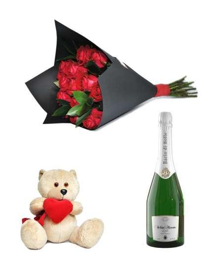 """Букет из 11 красных роз + Шампанское """"Bacio di Bolle"""" + Медвежонок 20см ↑"""