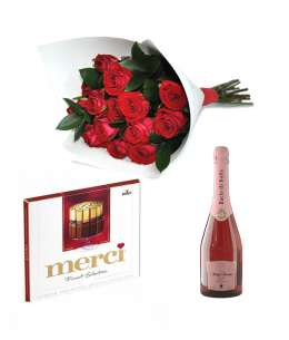 "Bouquet of 21 red roses + Chocolate ""merci"" + Champagne ""Bacio di Bolle"""