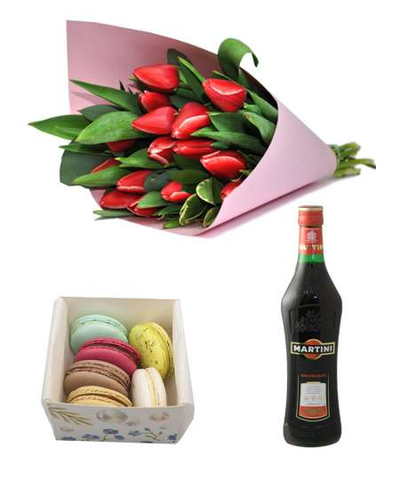 "Bouquet of 11 red tulips + Macarons + Martini ""Rosso"""