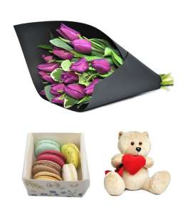 Bouquet of 15 purple tulips + Macarons + Bear 20cm ↑