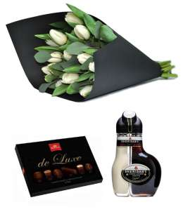 "Bouquet of 15 white tulips + Chocolate ""Korona de Luxe"" + Sheridan's"