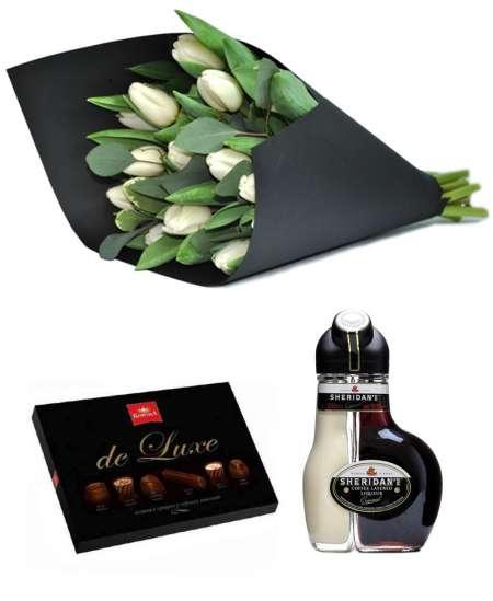 """Buchet din 15 lalele albe + Ciocolată """"Korona de Luxe"""" + Sheridan's"""