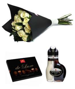 "Bouquet of 15 white roses + Chocolate ""Korona de Luxe"" + Sheridan's"