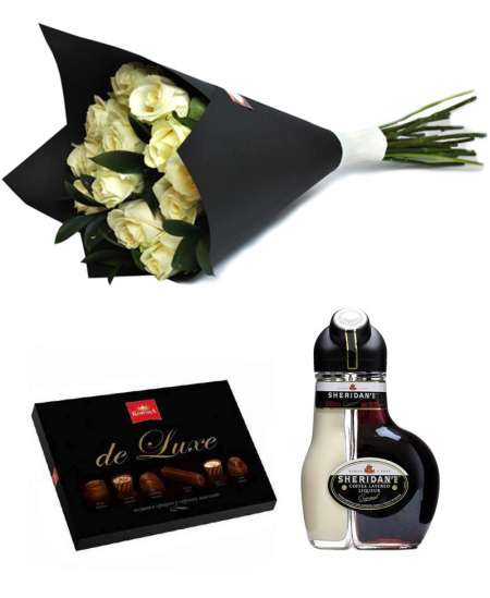 "Bouquet of 15 white roses + Chocolate ""Korona de Luxe"" + Sheridan's"