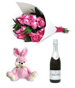 "Bouquet of 11 pink roses + Pink rabbit 45cm ↑ + Champagne ""CRICOVA"""