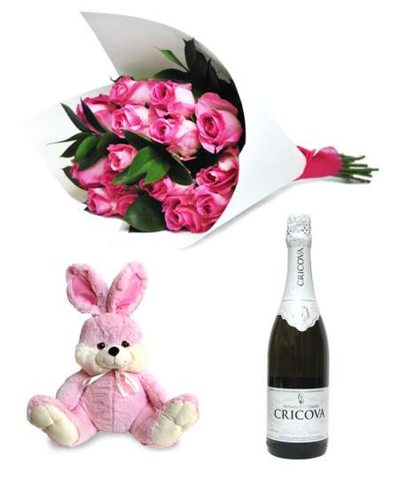 """Букет из 11 розовых роз + Розовый кролик 45см ↑ + Шампанское """"CRICOVA"""""""