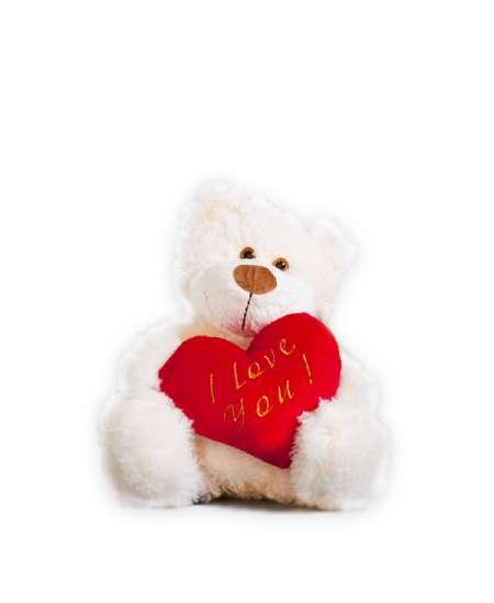 Белый Мишка с сердцем 20 см ↑