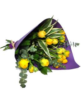 Bouquet of 11 yellow ranunculus in purple craft paper