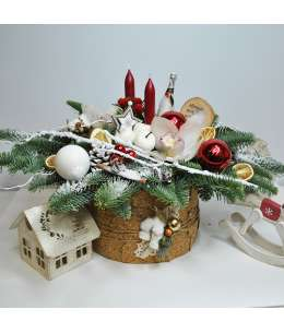 """Compoziția de sărbătoare """"Decorația pentru masa de Crăciun"""""""