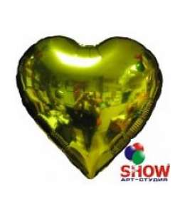 Воздушный шар с гелием золотым сердцем