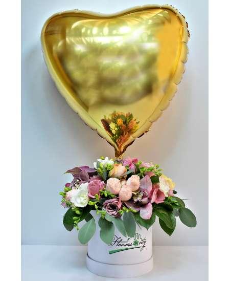 Mixed box + Helium gold heart
