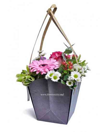 "Basket of flowers ""Happiness exists"""