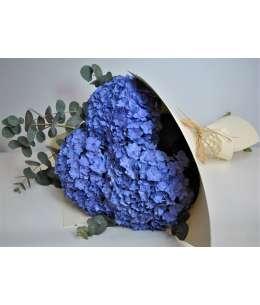 Buchet din 3 hortenzii violet in carton crem