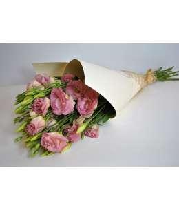 Buchet din 11 eustome roz in hirtie craft crem