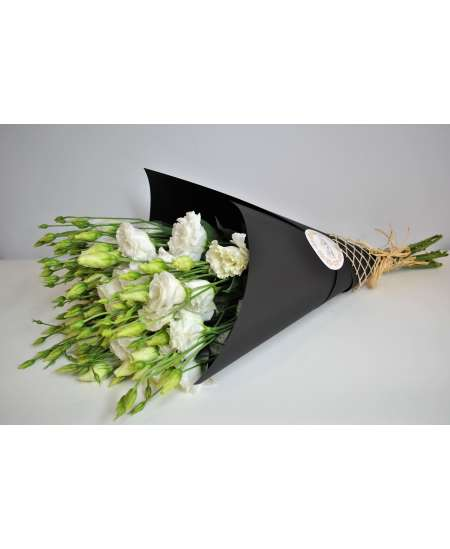 Bouquet of 11 white eustomes in black craft paper