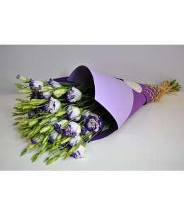 Buchet din 11 eustome violet in hirtie craft mov