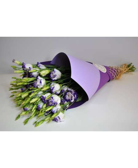 Bouquet of 11 eustome purple in purple craft paper