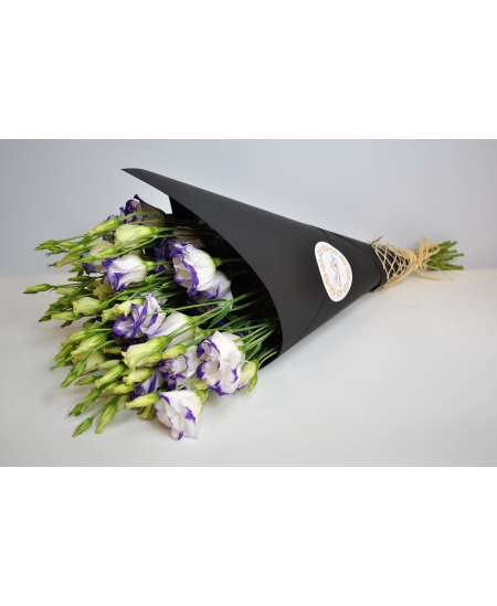 Buchet din 11 eustome violet in hirtie craft neagra