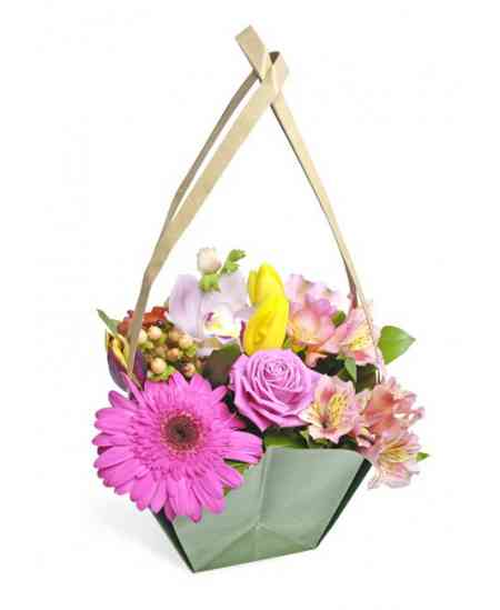 """Корзинка цветов """"Розовый сюрприз"""""""