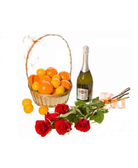 Fruit basket, roses and Asti Martini