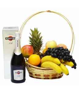 Coș din fructe mixt și Asti Martini