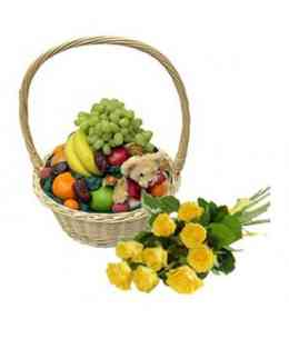 Fruit basket, teddy bear and roses