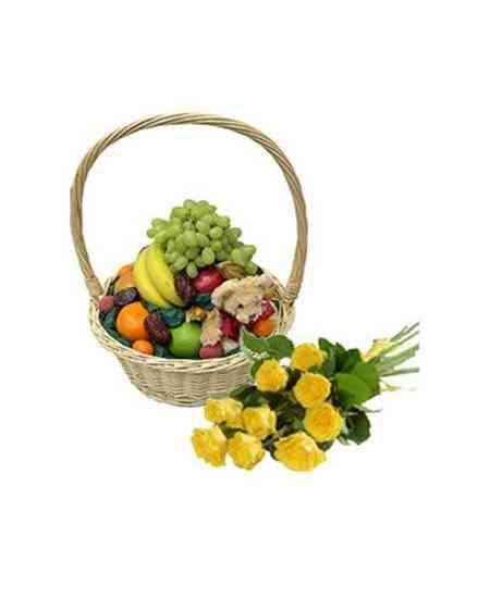 Fruit basket, teddy bear and roses
