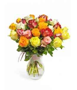 Букет из разноцветных роз 40-50см