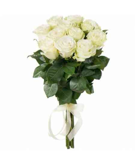 Bouquet of 11 white roses 60-70cm