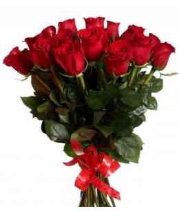 Buchet din 15 trandafiri roșii 60-70cm