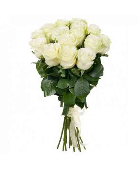 Bouquet of 15 white roses 60-70cm