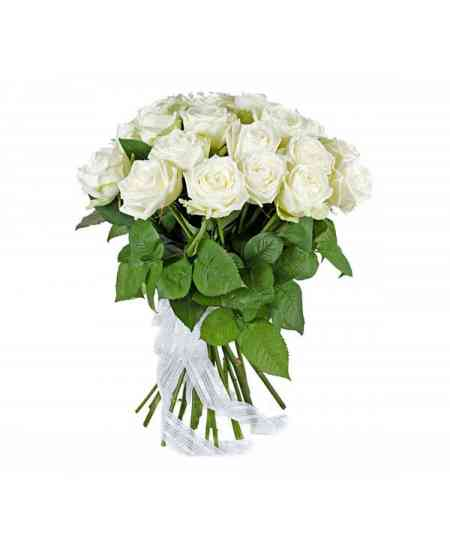 Bouquet of 17 white roses 60-70cm