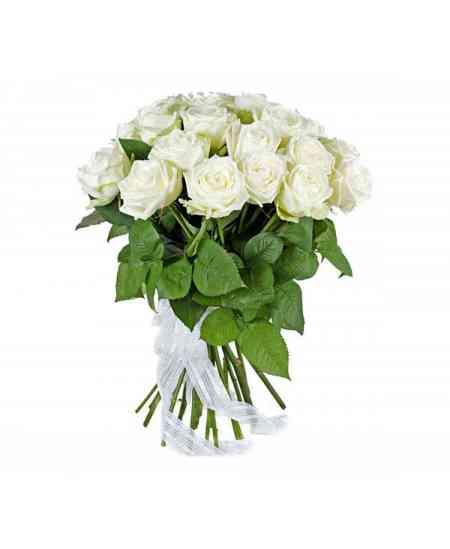 Buchet din 17 trandafiri albi 60-70cm