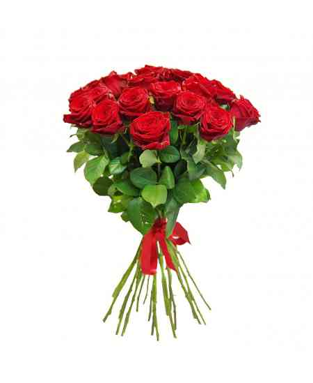 Bouquet of 21 red roses 60-70cm
