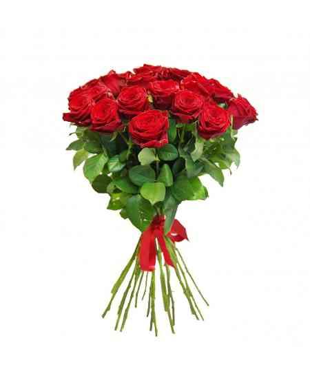 Buchet din 21 trandafiri roșii 60-70cm