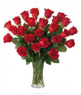 Bouquet of 25 red roses 60-70cm