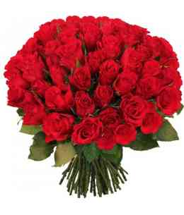 Bouquet of 51 red roses 60-70cm