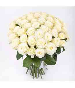 Bouquet of 51 white roses 60-70cm