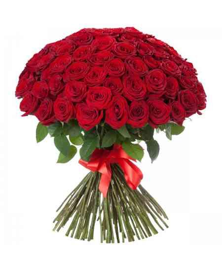 Buchet din 101 trandafiri roșii 60-70cm