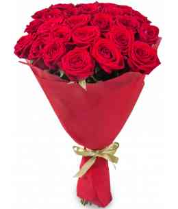 Bouquet of 21 red roses 80-90cm
